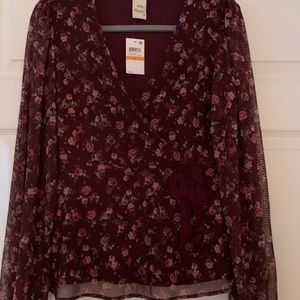 NWT American rag wine red blouse size S